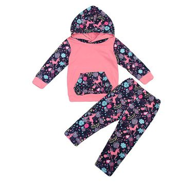 2017 Floral Newborn Toddler Kids Girls Long Sleeve Hooded Sweatshirt Tops+Pant Legging 2PCS Outfit Tracksuit Autumn Clothing Set