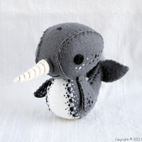 Norbert the Narwhal Wool Felt Plush Art Doll by nonesuchgarden