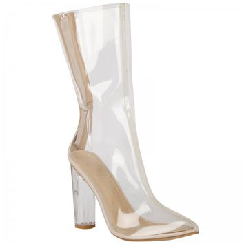 Tasha Clear Perspex Ankle Boots
