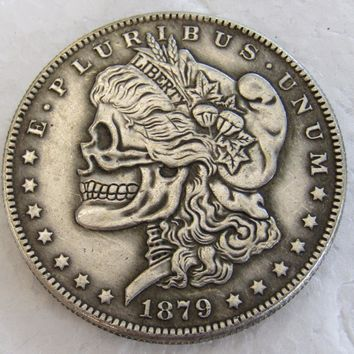 US Head-To-Head Two Face 1878/1879 Morgan Dollar skull zombie skeleton hand carved Copy Coins High Quality