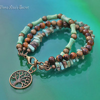 Boho Style Gemstone 3 Strand Bracelet, Turquoise Bracelet, Tiger Eye's Bracelet, Tree of Life Bracelet, Brown and Turquoise Bracelet