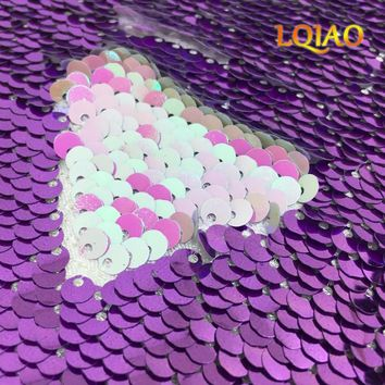 2018 New High Quality Embroidery Mermaid Sequin Fabric Iridescent White/Green Reversible Sequin Fabric Costume/Wedding Decor
