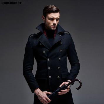 AIMENWANT Brand New Design Double Breasted Causal Wool Coat For Mens High Quality Brand Germany Woolen Jacket Long Pea Coat