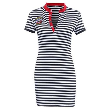 Striped Navy V neck Summer Dresses Casual Bodycon Knee-Length Summer Dress Women Clothes
