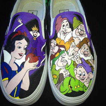 Custom Hand Painted Shoes - Snow White Vans