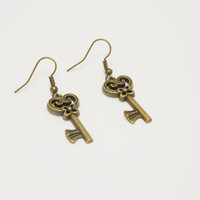 SALE Key earrings gift for any budget romantic handmade simple jewelry cheap present valentines day for her vintage style jewelry keys heart