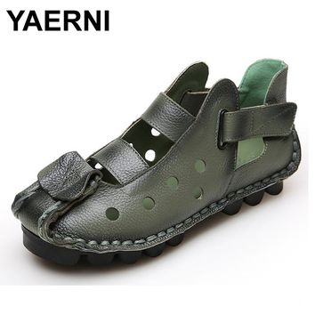 YAERNI Summer New Soft Bottom Flat Leather Shoes Personality Casual Women Sandals Tunnel Vintage Handmade Sandals For spring
