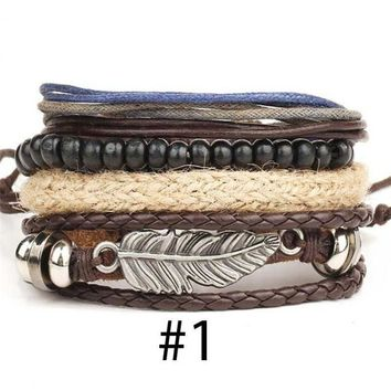 Men's Leather & Braided Wristband