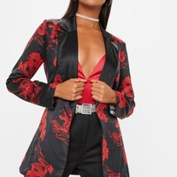 Missguided - Black Dragon Print Tie Waist Blazer
