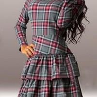 Grey Plaid Cascading Ruffle Round Neck Mini Dress