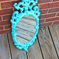 Aqua Blue Vintage Mirror by AquaXpressions