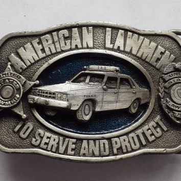 1986 American Lawman Belt Buckle By Siskiyou Buckle Company VINTAGE