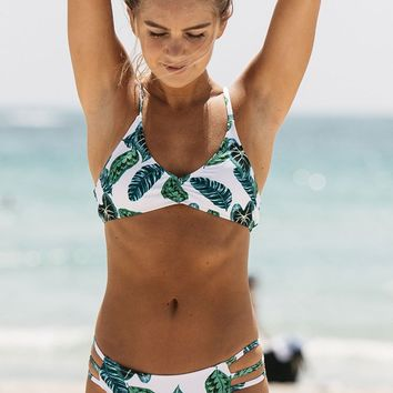 Cupshe Green Jade Leaves Bikini Set