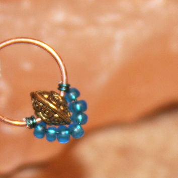 Small Cartilage Earrings, Teal Beaded Nose Ring, Nose Hoop, Septum Hoops, Helix Hoop, Nose Rings, Seamless Hoop, Piercing Jewelry