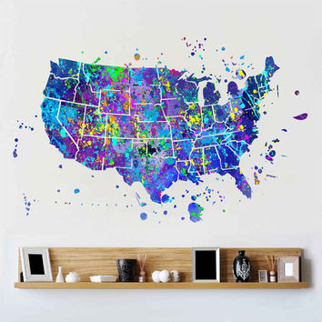 kcik1725 Full Color Wall decal poster space Watercolor paint splashes United states map Living room