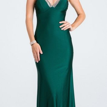 Hunter Green Long Formal Dress with Spaghetti Straps
