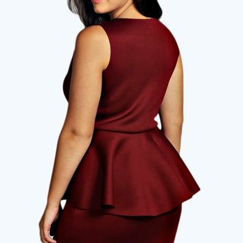 Plus Collette Bonded Scuba Peplum Dress
