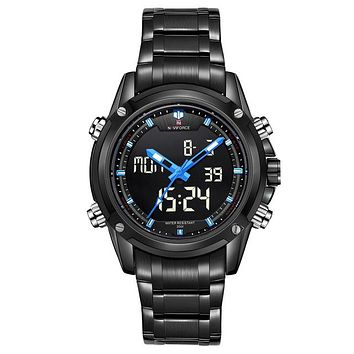 Mens Dual Movement Stainless Steel LED Watch