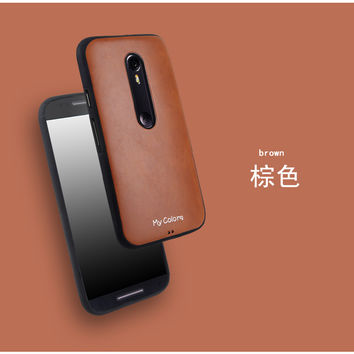 New Slim Luxury Brand Business Leather + TPU Gel Soft Silicone back case skin Phone cover For Motorola Moto G3 G 3rd Gen 3