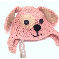 6 Month Baby  Dog Hat  Pink Organic Cotton Dog Hat by Parachet