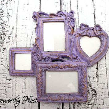 Ornate frame // ornate picture frame// Unique frame // Gift Frame // Lavender frame // purple frame // girls bedroom decor // shabby frame