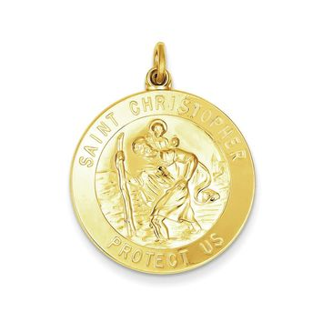 24k Gold-plated Sterling Silver St. Christopher Medal