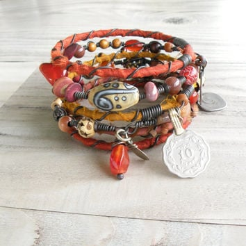 Silk Road Gypsy Bangle Set - 6 Piece, Antakya, Bohemian Tribal Bracelets, Silk Wrapped and Beaded in Fall Colors