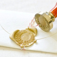 Wreath Gold Plated Wax Seal Stamp x 1