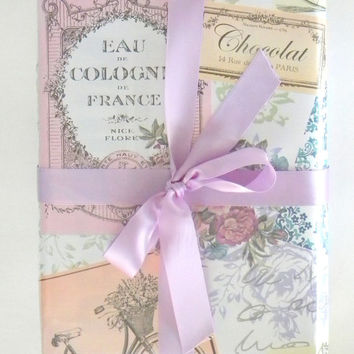 Vintage Paris Themed Feminine Wrapping Paper 10 ft Roll with a Pearl Finish, French Floral Gift Wrap, Wedding Gift Wrap