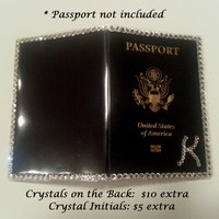 Bling Rhinestone Swarovski Crystal Passport Cover Holder Case