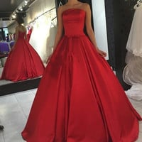 Strapless Red Satin A-Line Prom Dresses