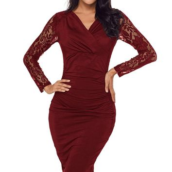 Red Floral Lace Panel Accent Ruched Sheath Dress