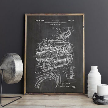 Jet Engine Poster, Jet Engine Print, Jet Engine Patent, Airplane Nursery, Aviation Decor, Aviation Nursery, Aviation Gifts, INSTANT DOWNLOAD