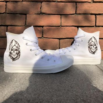 Wen Men Women Shoes Original Design Death Skull Cool White High Top Canvas Sneakers Sports Lace up Plimsolls Skateboarding Shoes