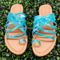 Pendleton Teal Strappy Flat Toe Loop Sandals