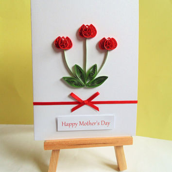 Card for Mothers day, Mother's day card, quilled card, floral Mother's day, card for Mum, mother's day, greeting card, happy Mother's day
