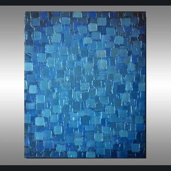 Original Modern Metallic Blue Painting 24x20 Palette Knife Abstract Geometric Heavy Texture Art Ready to Hang Home Decor