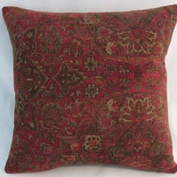 """Ruby Red & Brown Carpet Tapestry Pillow, Heavy Soft Chenille, 17"""" Square, Moroccan or Vintage Decor, Cover Only or Insert Included"""