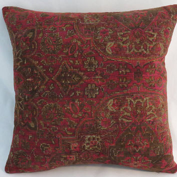 "Ruby Red & Brown Carpet Tapestry Pillow, Heavy Soft Chenille, 17"" Square, Moroccan or Vintage Decor, Cover Only or Insert Included"