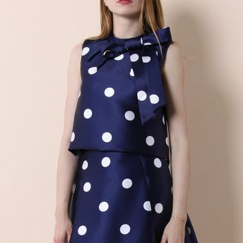 Fab in Dots Bowknot Cropped Top
