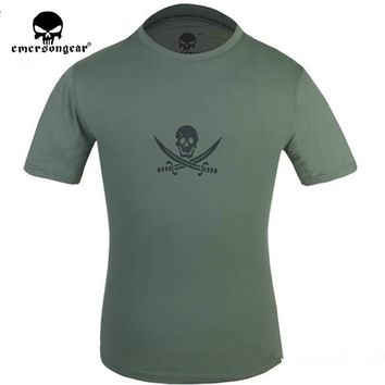 Hiking Shirt camping ENERSON2016 New funny Double sword skulls t shirts homme men women 100%Aborbent sweat and perspiration cotton cool sport tshirt KO_17_1