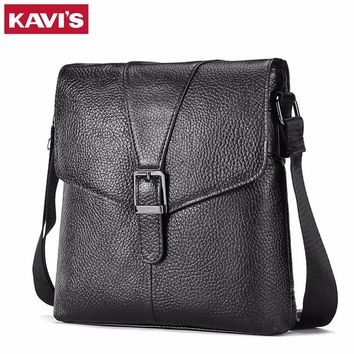 KAVIS Messenger Bag Men's Genuine Leather Shoulder Crossbody Handbag Bolsas Sac Sling Chest For Briefcase Male Small Designer