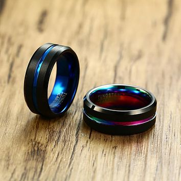 Men's Wedding Band Two Tone 8MM Black Tungsten Carbide Ring for Men Rainbow Grooved on Brushed Center Beveled Edges Male Jewelry