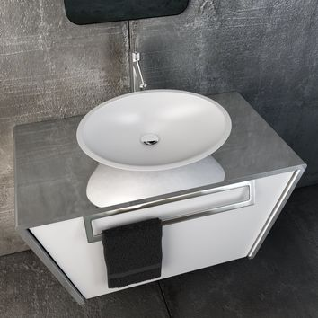 "Quatordici 39-3/8"" Wall Bathroom Vanity 1 DRW and 1 Hidden DRW, Stainless Steel - CASCARA Vessel Sink"