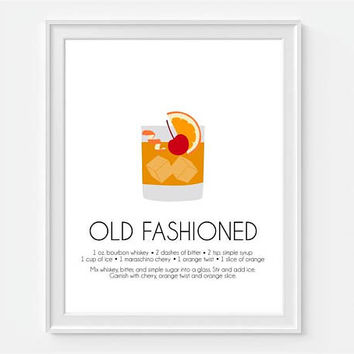 Old Fashioned, Old Fashion Cocktail, Old Fashion Print, Bar Wall Art, Mixed Drink Print, Art For Bar, Cocktail Recipe, Bar Decor