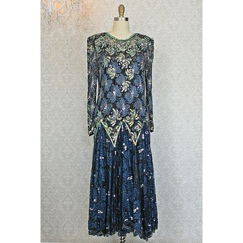Vintage Lace  Flounce Hem  Sequin Dress