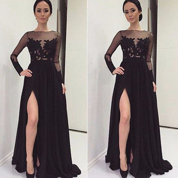 Custom Made Gorgeous Slit High Long Evening Dresses Black Chiffon Full Sleeves Lace See-Through Wedding Party Prom Gowns