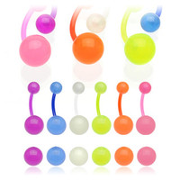 14g Glow in the Dark Non Dangle Belly Button Ring Navel Body Jewelry Piercing with Bioflex Curved Barbell 14 Gauge