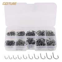 Goture 500pcs Black Carbon Steel Fishing Hooks Fishhooks  3# -12# 10 Sizes Plus Fishing Tackle Box