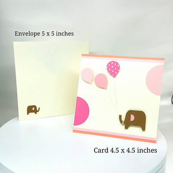 Expecting Greeting card, Baby Shower Card, Newborn Card, Baby Girl, Birthday Card, Baby Birthday Card, Elephant, Greeting Card, pink